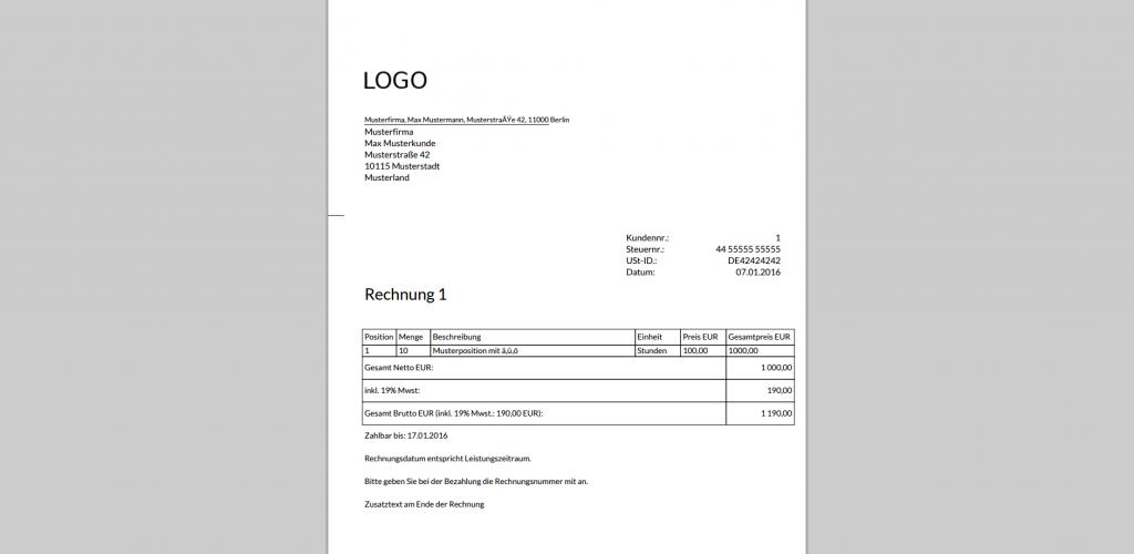 PDF-Ausgabe eines Auftrags